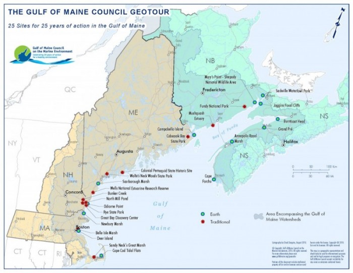 Map of Gulf of Maine GeoTour locations